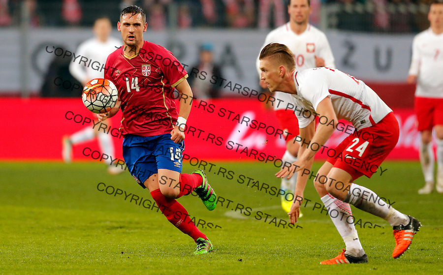 Nikola Stojiljkovic Poljska - Srbija prijateljska, Poland - Serbia friendly football match, March 23. 2016. Poznan  (credit image & photo: Pedja Milosavljevic / STARSPORT)