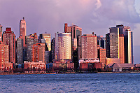 Battery Park City, Lower Manhattan Skyline from Jersey City, NJ, Manhattan, New York City, New York, USA
