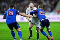 Dan Cole of England takes on the France defence. RBS Six Nations match between France and England on March 19, 2016 at the Stade de France in Paris, France. Photo by: Patrick Khachfe / Onside Images