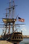 American Flag flying from the Bounty tall ship, docked in Santa Cruz harbour. Tenerife,Canary Islands.
