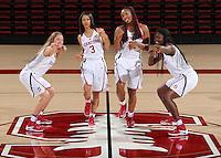 STANFORD, CA - September, 20, 2016: The 2016-2017 Stanford Women's Basketball Team. Nadia Fingall, Anna Wilson,  Dijonai Carrington, Nadia Fingall