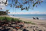 Central America, Costa Rica, Matapalo. Horseback riding along the beach of Matapalo and the Golfo Dulce near Lapa Rios.