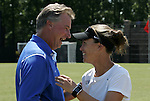 05 September 2009: Duke head coach Robbie Church (left) and UNLV head coach Kat Mertz (right). The Duke University Blue Devils played the University of Nevada Los Vegas Runnin' Rebels to a 0-0 tie after overtime at Koskinen Stadium in Durham, North Carolina in an NCAA Division I Women's college soccer game.
