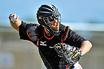 13 March 2012: Miami Marlins catcher Clint Sammons warms up prior to a Spring Training game against the Atlanta Braves at Roger Dean Stadium in Jupiter, Florida. The two teams battled to a 2-2 tie playing 10 innings of Grapefruit League action. Mandatory Credit: Ed Wolfstein Photo