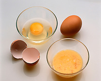 EGG INTACT &amp; SCRAMBLED EGG<br /> States of Entropy<br /> The intact egg is in a low entropy state; it is a highly ordered structure. According to the Second Law of Thermodynamics, the scrambled egg is in a state of higher entropy which will not spontaneously decrease and revert to its original state.