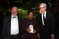 Morry Love, Shelagh Magadza from the New Zealand Festival and Steve Sanderson. Wellington Gold Awards at TSB Bank Arena, Wellington, New Zealand on Thursday, 9 July 2015. Photo: Dave Lintott / lintottphoto.co.nz