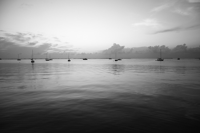 Boats on the water at sunset in Key Largo, Fla. July 26, 2010.