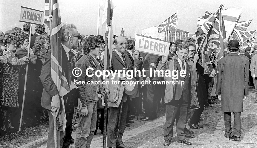 Supporters from Armagh and Londonderry among massive attendance at the Ulster Vanguard Rally in Ormeau Park, Belfast, N Ireland, 18th March 1972, 19720318010106<br /> Copyright Image from Victor Patterson, 54 Dorchester Park, Belfast, UK, BT9 6RJ<br /> <br /> t1: +44 28 9066 1296<br /> t2: +44 28 9002 2446<br /> m: +44 7802 353836<br /> <br /> e1: victorpatterson@me.com<br /> e2: victorpatterson@gmail.com<br /> <br /> www.victorpatterson.com<br /> <br /> IMPORTANT: Please see my Terms and Conditions of Use at www.victorpatterson.com