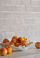 Giovanni Barbieri Lucido 3x6 inch bricks shown in Bianco Carrara.