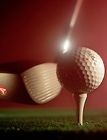 design concept 4 fore four golf club ball driver tee sports still life golf club driver hitting ball on tee   copy space