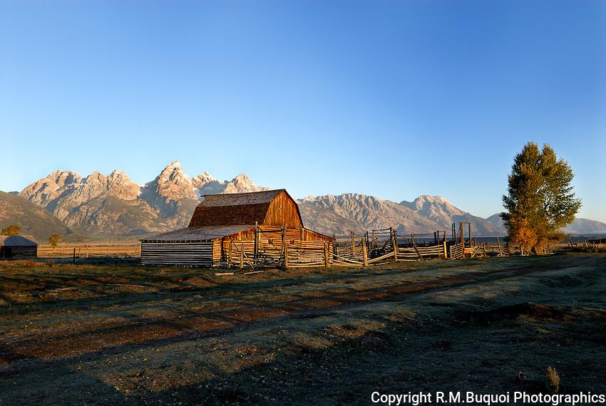 Morman Barn at Sunrise near Grand Tetons