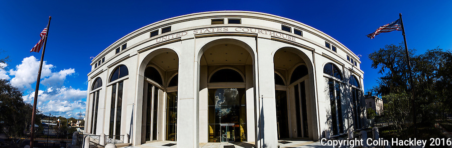 TALLAHASSEE, FLA. 3/13/16-The Tallahassee courthouse of the United States District Court, Northern District of Florida.<br /> <br /> EDITOR&rsquo;S NOTE: This image is comprised of multiple photos taken at the same moment and stitched together in photoshop to create a panorama.<br /> <br /> COLIN HACKLEY PHOTO