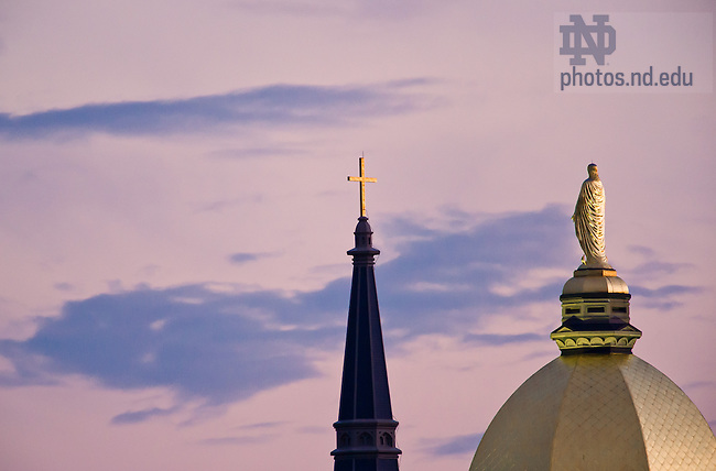 Aug. 22, 2013; Mary statue and Basilica cross<br /> <br /> Photo by Matt Cashore/University of Notre Dame