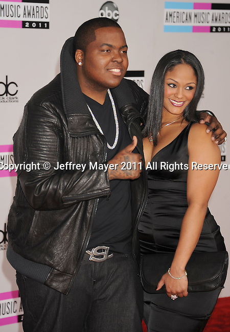 LOS ANGELES, CA - NOVEMBER 20: Sean Kingston and Maliah Michel  arrive at the 2011 American Music Awards held at Nokia Theatre L.A. LIVE on November 20, 2011 in Los Angeles, California.