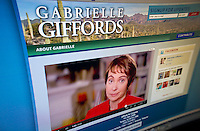 A video on the website of Rep. Gabrielle Giffords, seen on Sunday, January 22, 2012, announces that she will be stepping down from Congress at the end of the week to continue her recovery. Giffords, who was shot in the head on January 8, 2011 in Tuscon, posted the video on social media such as YouTube and Facebook also. (© Richard B. Levine)
