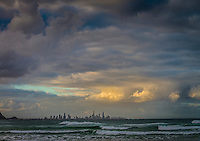 Coolangatta, Queensland, Australia. (Wednesday, January 29, 2014) Sunset at Currumbin. –  The swell was from the south east this morning in the 5'-6' range. The wind was  from the South East as well and with a Cyclone Dane forming in the Coral Sea the surf improved throughout the day.  Photo: joliphotos.com