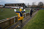 Prescot Cables 2 Brighouse Town 1, 13/02/2016. Hope Street, Northern Premier League. Home supporters watching the second-half action as Prescot Cables (in orange) take on Brighouse Town in a Northern Premier League division one north fixture at Valerie Park. Founded in 1884, the 'Cables' in their name came from the largest local employer, British Insulated Cables and they have played in their current ground, also known as Hope Street, since 1906. Prescott won the match 2-1 watched by a crowd of 189. Photo by Colin McPherson.