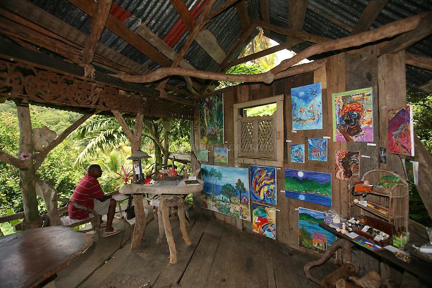 Indigo Art Gallery, restaurant and guesthouse near village of Borne on northwest coast of Dominica