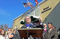 Rabbi Jack Moline,  (pictured) President of Interfaith Alliance, speaks at a press conference calling on President-elect Donald Trump to respect religious liberty. In the aftermath of the election and in response to the rising hate crimes against Muslims, national Christian and Jewish leaders joined their Muslim colleagues at Masjid Muhammad in Washington, D.C. on Friday, November 18, 2016 for the daily Muslim prayer service.<br /> Credit: Ron Sachs / CNP /MediaPunch