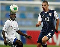 Ghana's  Frank Acheampong (L) and USA's Luis Gil (R) during their FIFA U-20 World Cup Turkey 2013 Group Stage Group A soccer match Ghana betwen USA at the Kadir Has stadium in Kayseri on June 27, 2013. Photo by Aykut AKICI/TURKPIX