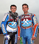 Jack Kingston and Mark Baldock of Lakeside Young Hammers - Lakeside Young Hammers vs Mildenhall Fen Tiger Cubs, Anglian Junior League Speedway at the Arena Essex Raceway, Pufleet - 04/05/12 - MANDATORY CREDIT: Rob Newell/TGSPHOTO - Self billing applies where appropriate - 0845 094 6026 - contact@tgsphoto.co.uk - NO UNPAID USE..