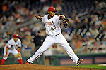 15 August 2008: Washington Nationals' pitcher Jesus Colome on the mound in relief against the Colorado Rockies at Nationals Park in Washington, DC.  The Rockies edged out the Nationals 4-3, handing the last place Nationals their 8th consecutive loss. ..Mandatory Photo Credit: Ed Wolfstein Photo