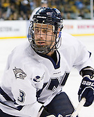 Austin Block (UNH - 3) - The Merrimack College Warriors defeated the University of New Hampshire Wildcats 4-1 (EN) in their Hockey East Semi-Final on Friday, March 18, 2011, at TD Garden in Boston, Massachusetts.