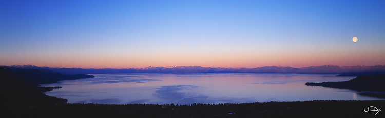 Lake Tahoe Scenic Moon Panorama