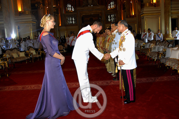 Crown Prince Haakon & Crown Princess Mette-Marit of Norway & foreign monarchs express their best wishes to His Majesty at the Anda Samakhom Throne Hall during the celebrations to mark the 60th anniversary of Thai King Bhumibol Adulyadej's accession to the throne...Pool Picture supplied by UK Press Ltd