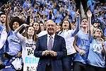 05 February 2017: ESPN broadcaster Dick Vitale dances with the UNC student section before the game. The University of North Carolina Tar Heels hosted the University of Notre Dame Fighting Irish at the Greensboro Coliseum in Greensboro, North Carolina in a 2016-17 Division I Men's Basketball game. The game had been postponed one day and moved from Chapel Hill due to a water shortage. UNC won the game 83-76.