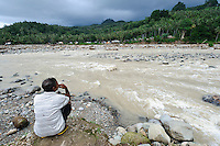 Flooding river, Gorontalo, Sulawesi, Indonesia.