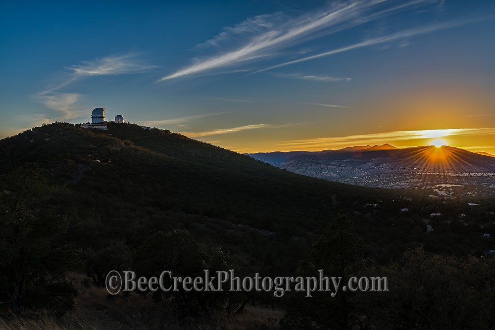 Sunset over the McDonald Observatory in Fort <br /> Davis Mountains in west Texas.