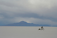 Don Thomas cycles along the Salar de Uyuni - Bolivia - South America
