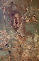 Fresco panel of Polyphemus with the nymph Galatea, in the triclinium of the Casa del Sacerdos Amandus, or House of the Priest Amandus, Pompeii, Italy. The fresco is in the Third Style of Roman wall painting, 20–10 BC, characterised by an ornamental elegance in figurative and colourful decoration. On the right is the bow of a multi-level oared ship, probably a quinquereme, with high bulwarks and many armed men on deck. Pompeii is a Roman town which was destroyed and buried under 4-6 m of volcanic ash in the eruption of Mount Vesuvius in 79 AD. Buildings and artefacts were preserved in the ash and have been excavated and restored. Pompeii is listed as a UNESCO World Heritage Site. Picture by Manuel Cohen