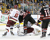 Edwin Shea (BC - 8), Tyler McNeely (Northeastern - 94), John Muse (BC - 1), Wade MacLeod (Northeastern - 19) - The Boston College Eagles defeated the Northeastern University Huskies 5-4 in their Hockey East Semi-Final on Friday, March 18, 2011, at TD Garden in Boston, Massachusetts.