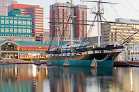 The historic sloop-of-war USS Constellation anchored in the Inner Harbor in Baltimore, Maryland.