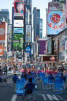 Lounge chairs in Times Square; Uptown View