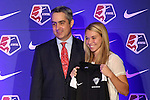 16 January 2015: Stephanie Verdoia (Seattle University), with NWSL commissioner Jeff Plush, was selected with the 29th overall pick by the Boston Breakers. The National Women's Soccer League Draft was held at the Pennsylvania Convention Center in Philadelphia, Pennsylvania.