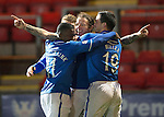 St Johnstone v Motherwell......27.10.13      SPFL<br /> Stevie May celebrates his goal with Gary Miller, Nigel Hasselbaink and David Wotherspoon<br /> Picture by Graeme Hart.<br /> Copyright Perthshire Picture Agency<br /> Tel: 01738 623350  Mobile: 07990 594431