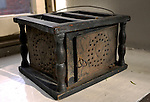 BOSTON, MA.-- A brazier on display at The Old North Church in Boston. Such devices were used by parisioners to transport hot coals with them to church on wintery days, as churches were not heated during the colonial period.