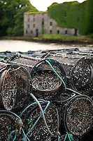 Durres, Sheeps Head Peninsula, West Cork, Ireland July 2010.  Crab and Lobster pods in the tiny harbour of Durrus. The Sheep's Head Way is an 88 km long distance hiking trail which combines the low, rugged hills and a splendid cliff coastline with quieter roads, paths and tracks to make a complete circuit around the Sheep's Head Peninsula. Photo by Frits Meyst/Adventure4ever.com