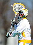 3 April 2010: University of Vermont Catamounts' Goalie David Barton, a Sophomore from Hanover, MA, in action against the Binghamton University Bearcats at Moulton Winder Field in Burlington, Vermont. The Catamounts defeated the visiting Bearcats 11-8 in Vermont's opening home game of the 2010 season. Mandatory Credit: Ed Wolfstein Photo