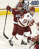Jillian Dempsey (Harvard - 14), Mary Restuccia (BC - 22) - The Boston College Eagles defeated the visiting Harvard University Crimson 6-2 on Sunday, December 5, 2010, at Conte Forum in Chestnut Hill, Massachusetts.