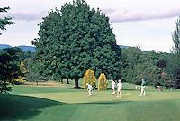 """Senior Ladies golfing on Golf Course at Qualicum Beach, BC, """"Oceanside Region"""", Vancouver Island, British Columbia, Canada"""