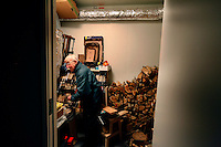 "Brother Cyril working in the shed. ..The new Munkeby Mariakloster - kloster is Norwegian for monastery . The four founding French monks will establish their discrete presence as a contemplative monastery according to the Rule of Saint Benedict, written in the 6th century. Brother Joel (55) & Cîteaux's Prior, brothers Arnaud (31), Bruno (33) and Cyril (81), have all chosen to be part of the founding community, despite Norway's rude climate and winter darkness at latitude 63º N, not far from the arctic circle.Munkeby, the ""place of the monks"" was the third and northernmost Norwegian monastery established by the Cistercians in the 12th century"