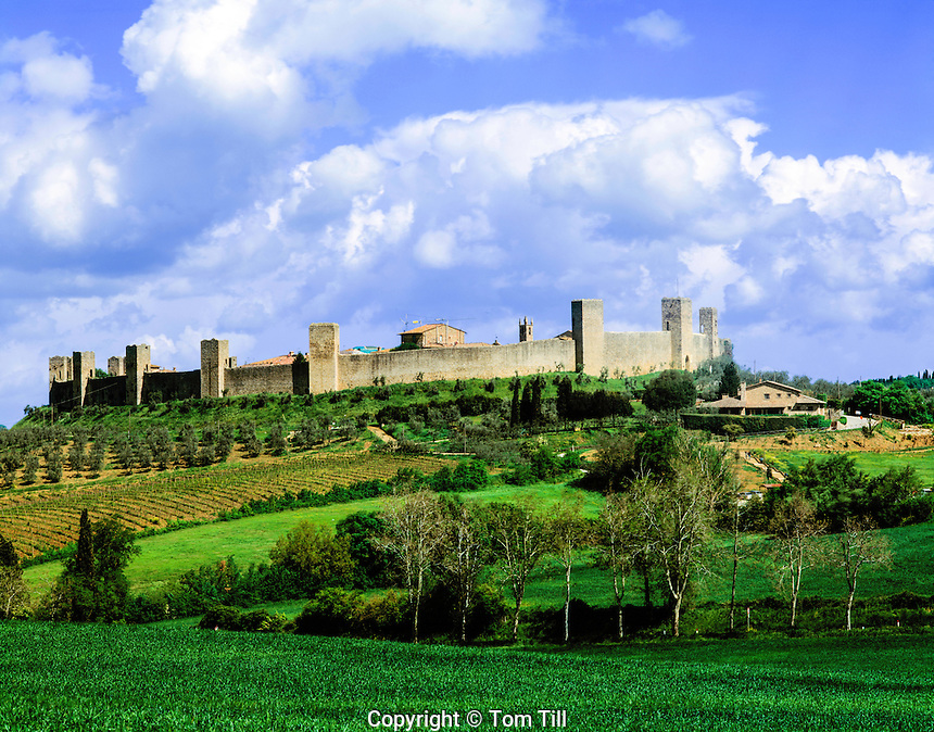 Castle of Monteriggioni, Italy,  Tuscany Region  Built in 1203 14 towers with original walls
