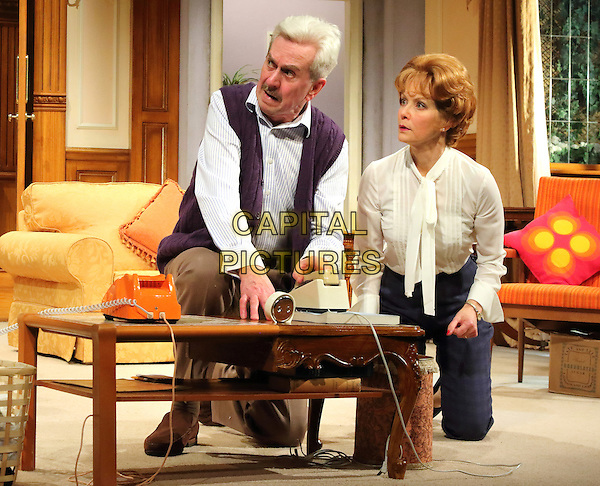 LONDON, ENGLAND - Nicholas Le Prevost as 'Frank Foster' and Jenny Seagrove as 'Fiona Foster' in 'How The Other Half Loves' Photocall at the Theatre Royal Haymarket, London on March 30th 2016<br /> CAP/ROS<br /> &copy;Steve Ross/Capital Pictures