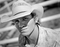 Bareback rider Darrell Smith, of Fruita, Colo, at the Earl Anderson Memorial Rodeo in Grover, Colo.