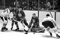 Seals Hockey Action:  Wally Boyer and goalie charlie Hodge<br />