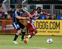 Santa Clara, California - Saturday July 18, 2012: FC Dallas' Jair Benitez defending San Jose Earthquakes' Sam Cronin during a game at Buck Shaw Stadium, Stanford, Ca   San Jose Earthquakes defeated FC Dallas 2 - 1.
